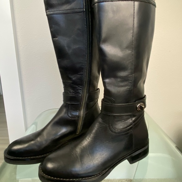 Coach Eva Extended Calf Black Leather Riding Boots